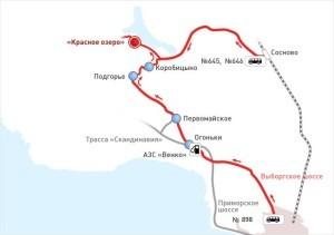 Карта проезда до Красного озера