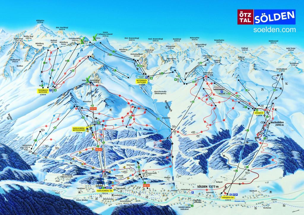 Схема трасс горнолыжного курорта Зельден