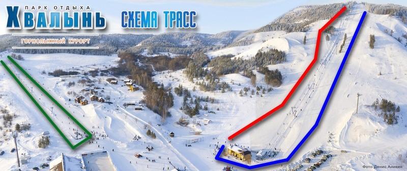 Карта трасс горнолыжного курорта Хвалынский