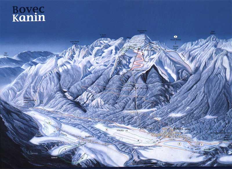 Схема трасс на горнолыжном курорте Бовец