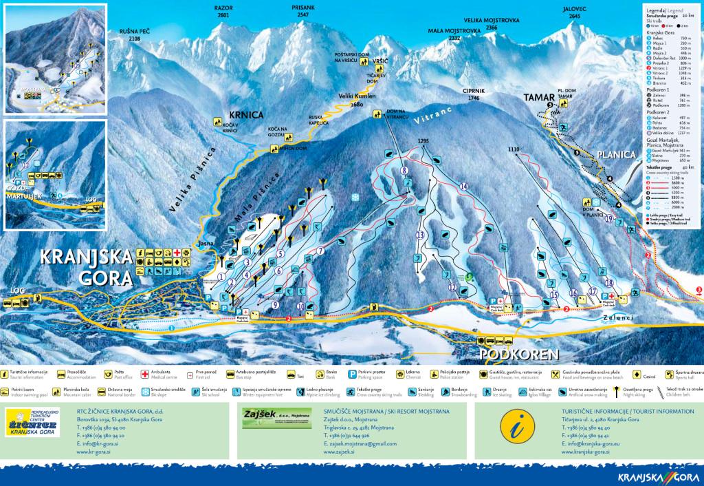 Схема трасс на горнолыжном курорте Краньска Гора