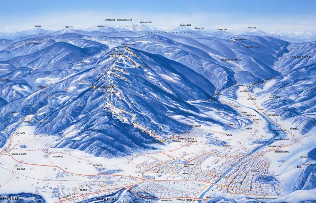 Схема трасс на горнолыжном курорте Мариборское Похорье