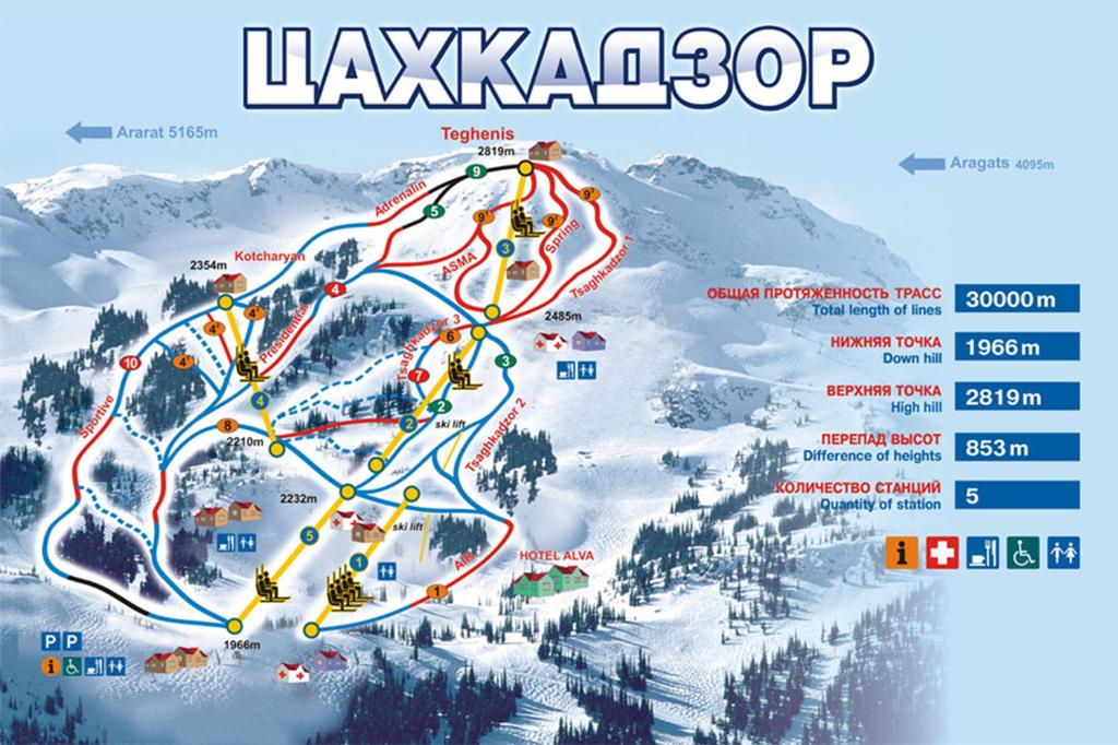 Карта трасс курорта Цахкадзор