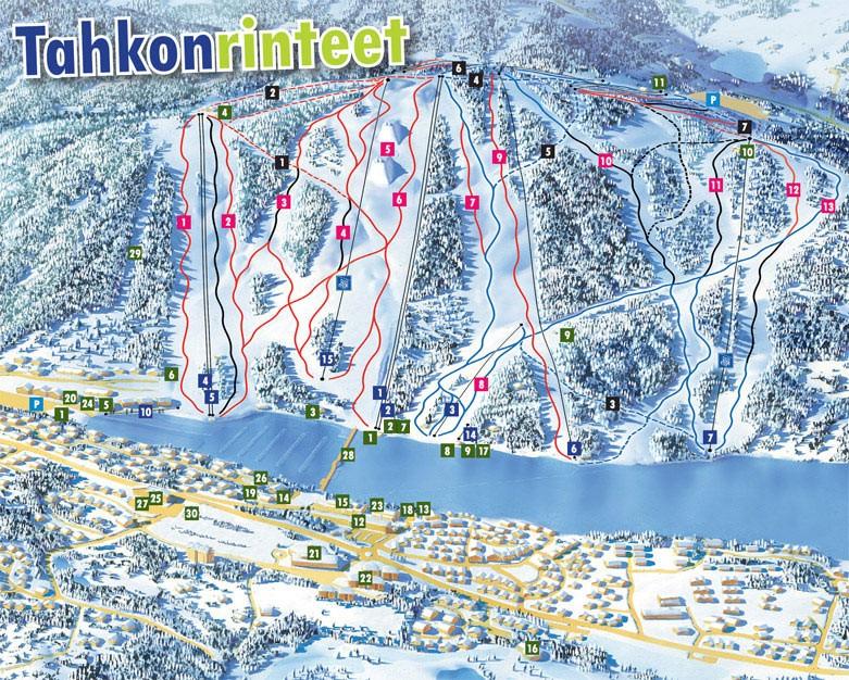 Схема трасс горнолыжного курорта Тахко