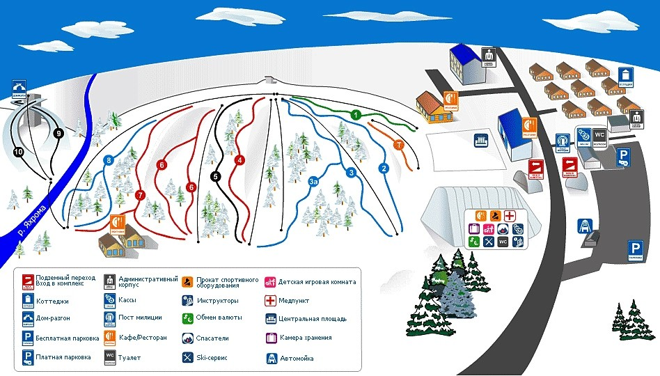 Схема трасс горнолыжного курорта Сорочаны