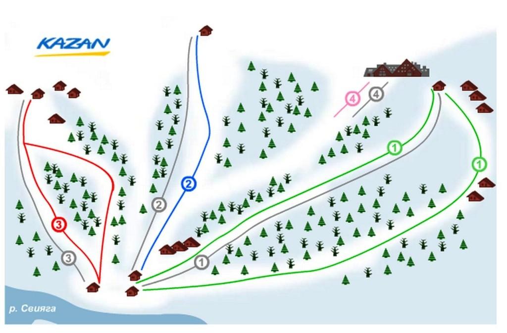 Схема трасс горнолыжного курорта Казань
