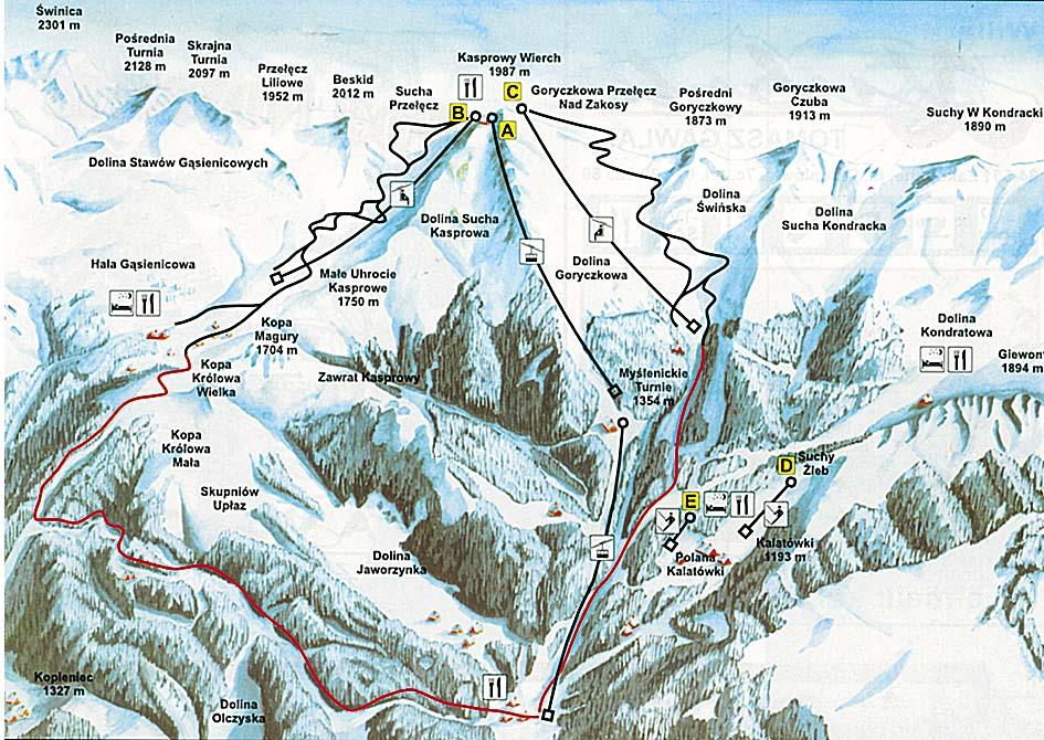 Схема трасс горнолыжного курорта Закопане