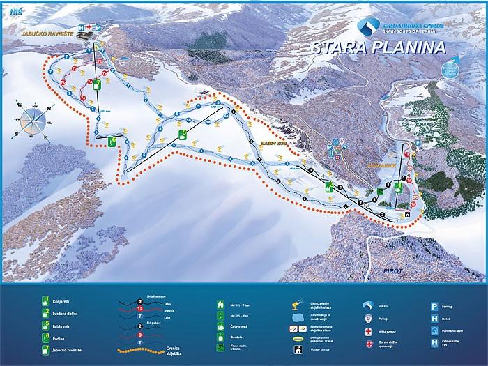 Схема трасс горнолыжного курорта Стара Планина
