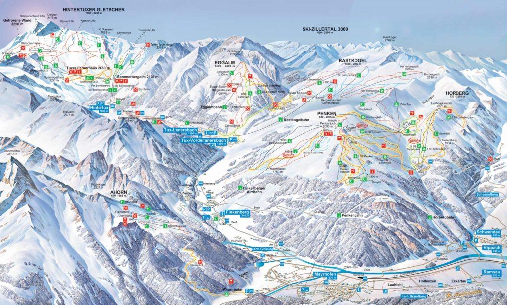 Карта трасс горнолыжного курорта Майрхофен