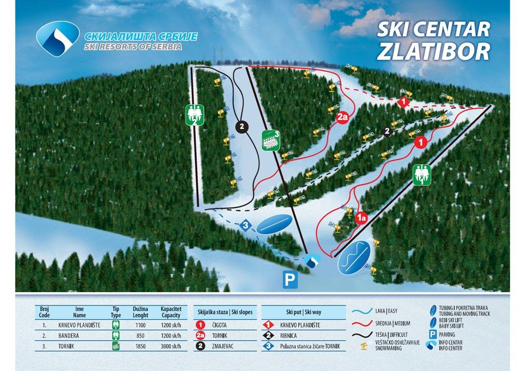 Схема трасс горнолыжного курорта Златибор