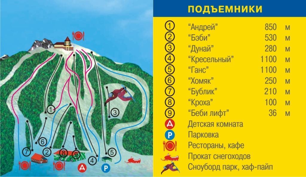 Схема трасс «Гора Ежовая»