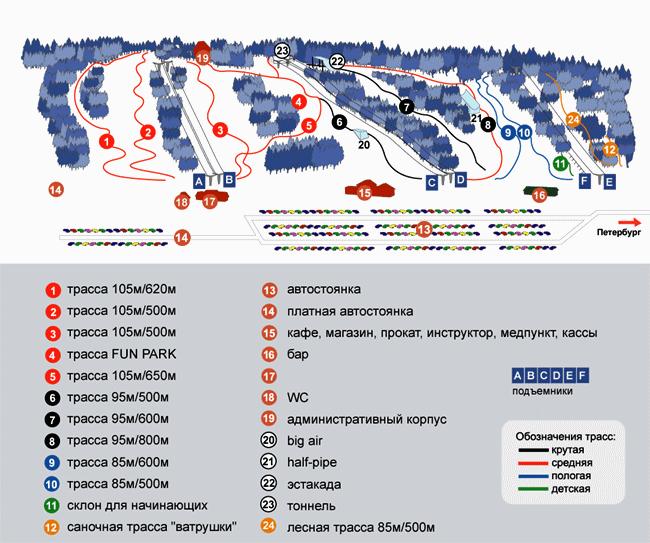 Схема трасс горнолыжного курорта «Золотая Долина»