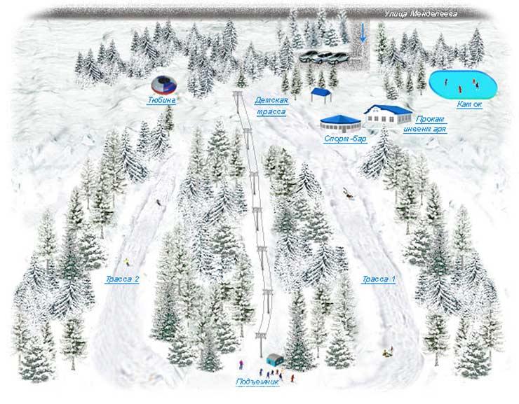 Схема трасс горнолыжного комплекса «Ак Йорт»