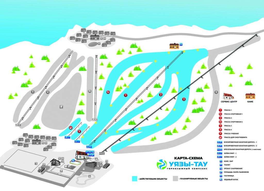 Схема трасс на горнолыжном курорте Уязы-Тау