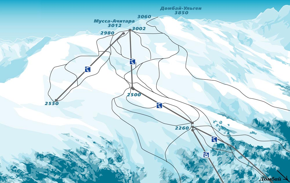 Схема трасс горнолыжного курорта Домбай