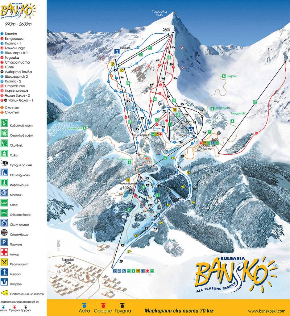 Схема трасс горнолыжного курорта Банско