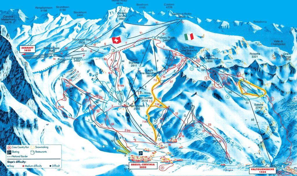 Схема трасс горнолыжного курорта Червиния