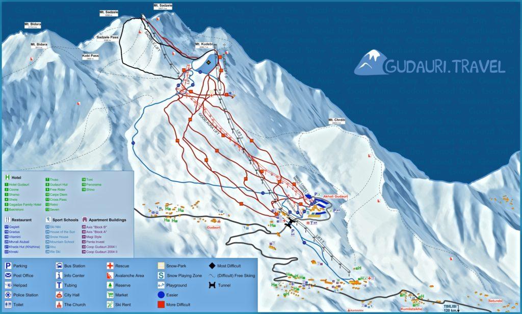 Схема трасс горнолыжного курорта Гудаури