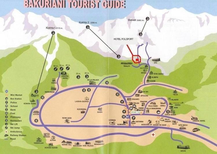 Карта трасс и подъемников горнолыжного курорта Бакуриани
