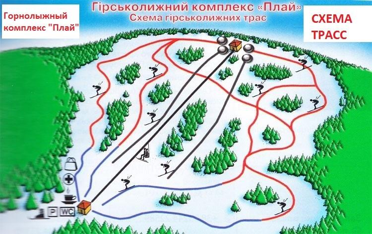 Схема трасс горнолыжного курорта Плай