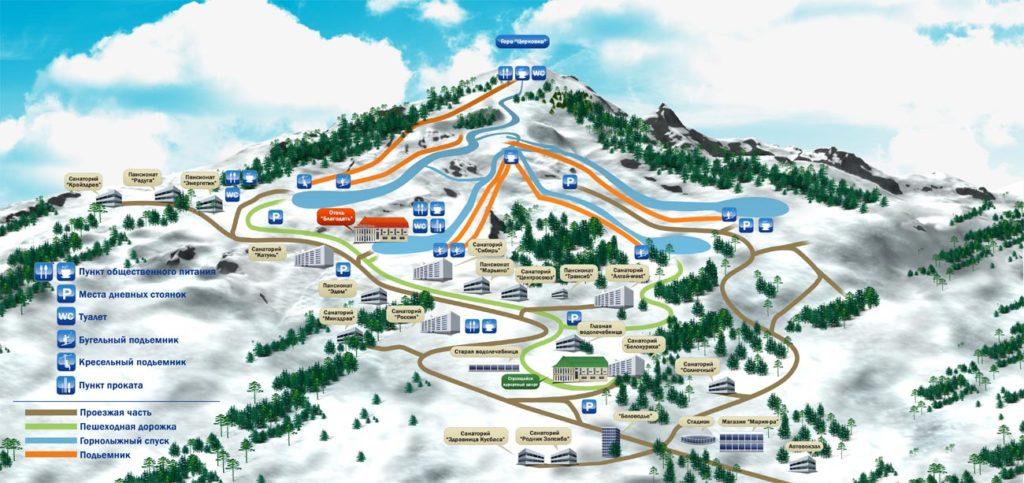 Схема трасс горнолыжного курорта «Благодать»