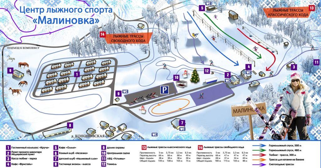 Схема трасс горнолыжного курорта «Малиновка»