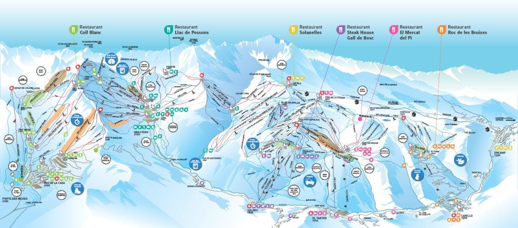 Карта трасс горнолыжного курорта Грандвалира в Андорре