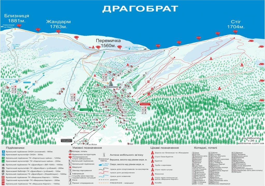 Карта трасс горнолыжного курорта Драгобрат