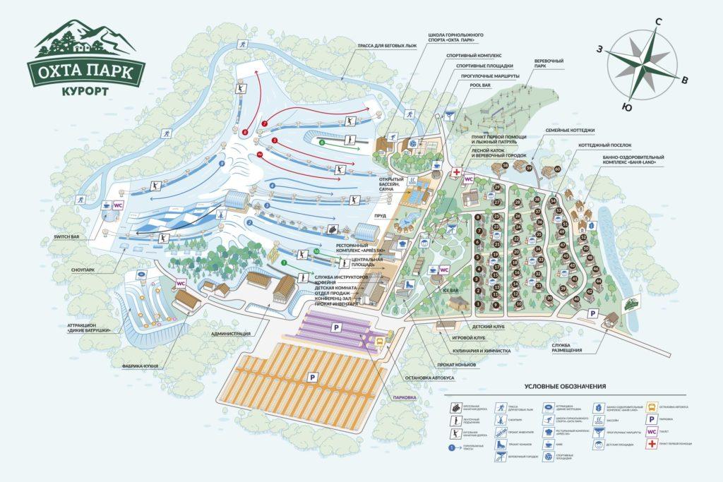 Карта трасс горнолыжного курорта Охта Парк