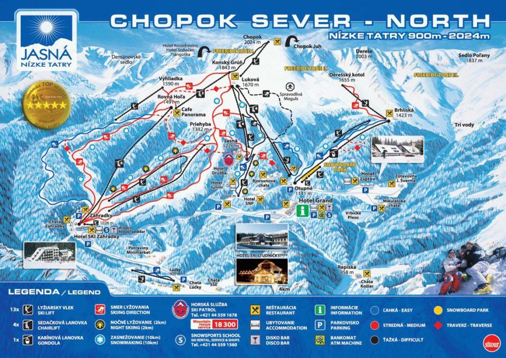 Карта трасс горнолыжного курорта Ясна (Словакия)