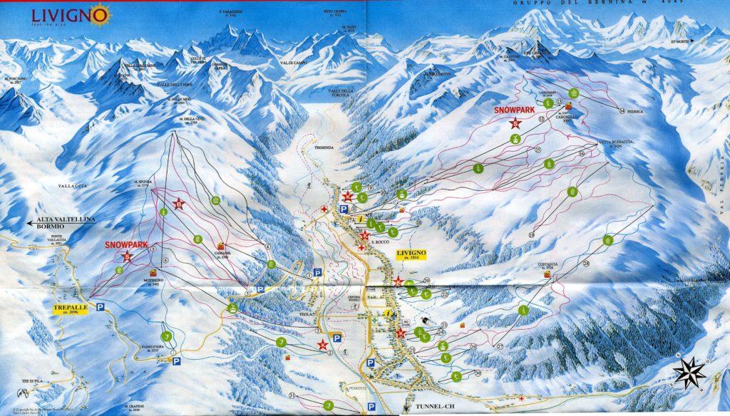 Схема (карта) трасс горнолыжного курорта Ливиньо