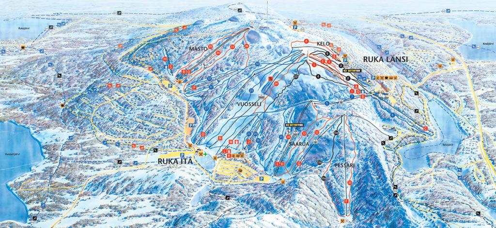 Карта (схема) трасс горнолыжного курорта Рука в Финляндии