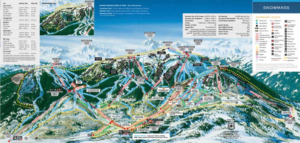 Карта трасс горнолыжного курорта Аспен в США