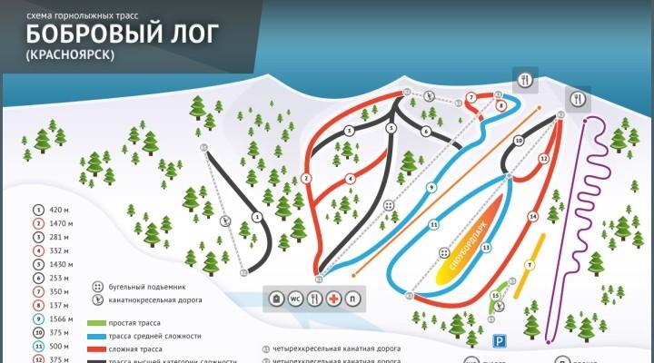 Фанпарк Бобровый лог в Красноярске: схема трасс