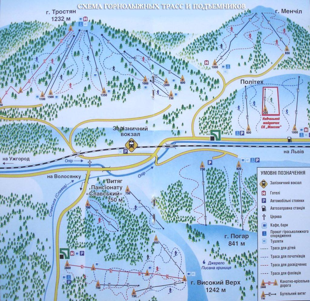 Схема трасс горнолыжного курорта Славское