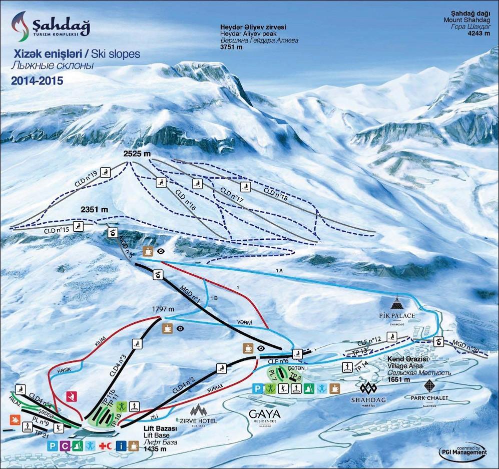 Схема трасс горнолыжного курорта Шахдаг