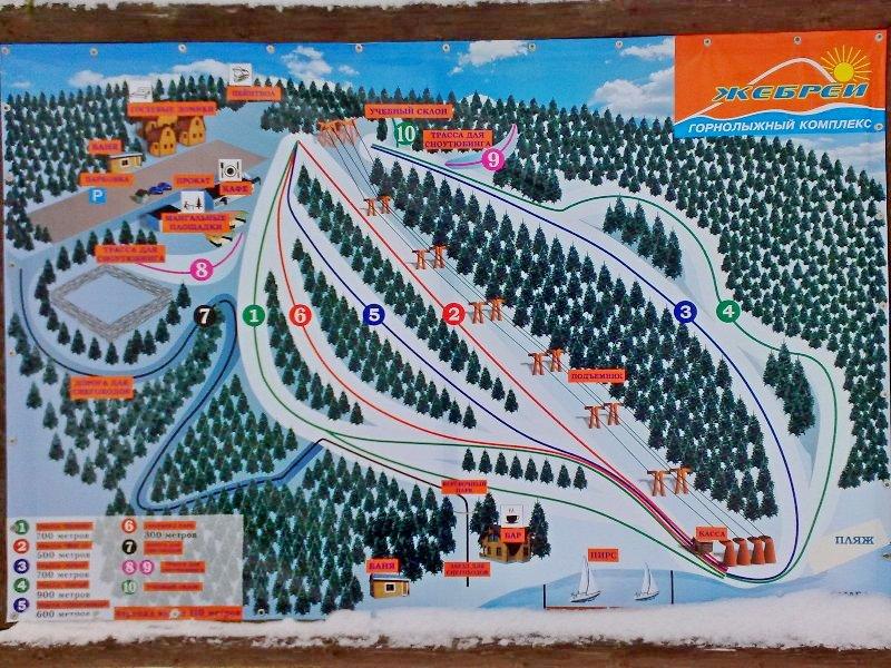 Карта трасс горнолыжного комплекса Жебреи