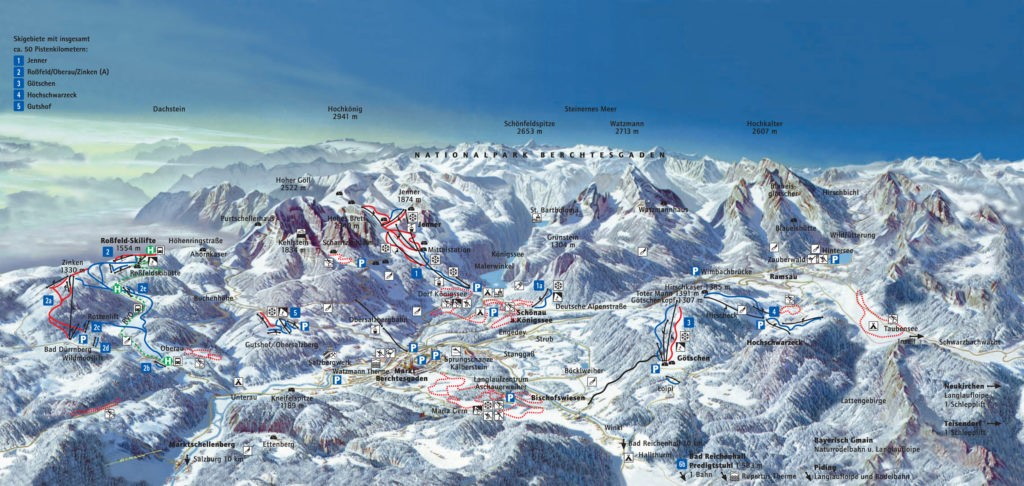 Карта трасс и подъемников горнолыжных курортов Берхтесгаден