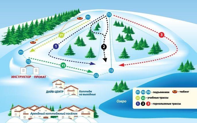 Схема трасс на горнолыжном курорте Спас-Каменка