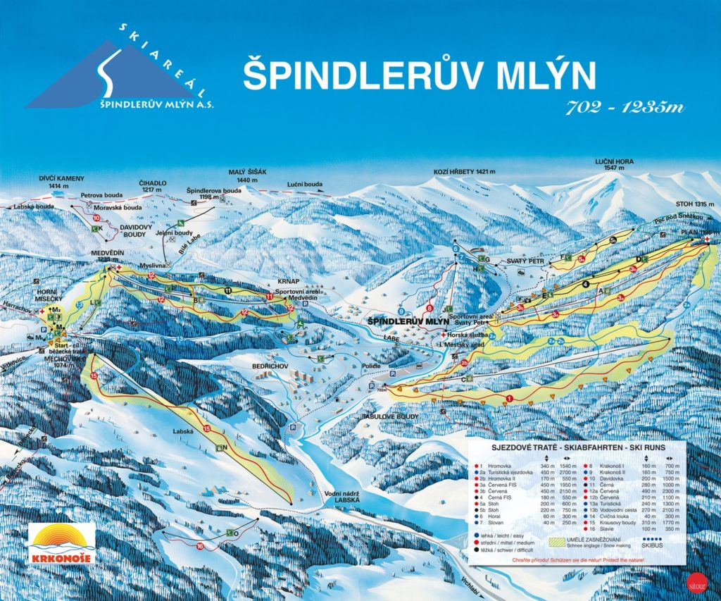 Карта трасс горнолыжного курорта Шпиндлерув Млын