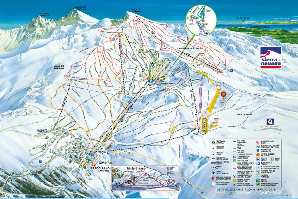 Схема трасс и подъемников на горнолыжном курорте Сьерра Невада