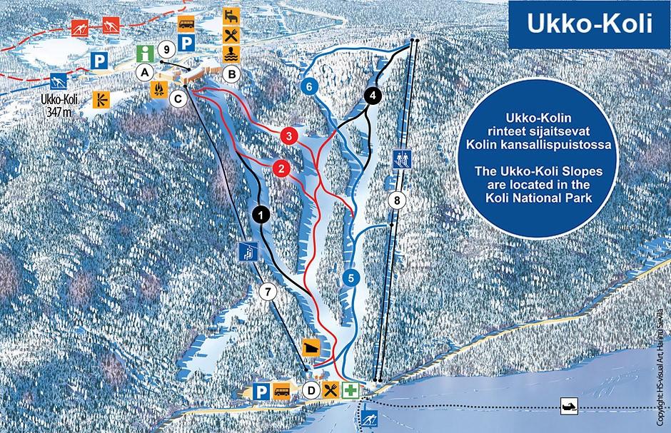 Карта трасс горнолыжного курорта Коли