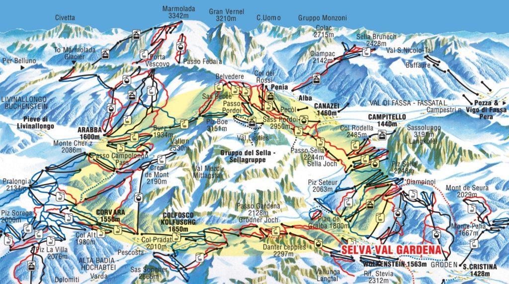 Карта трасс горнолыжного курорта Канацеи