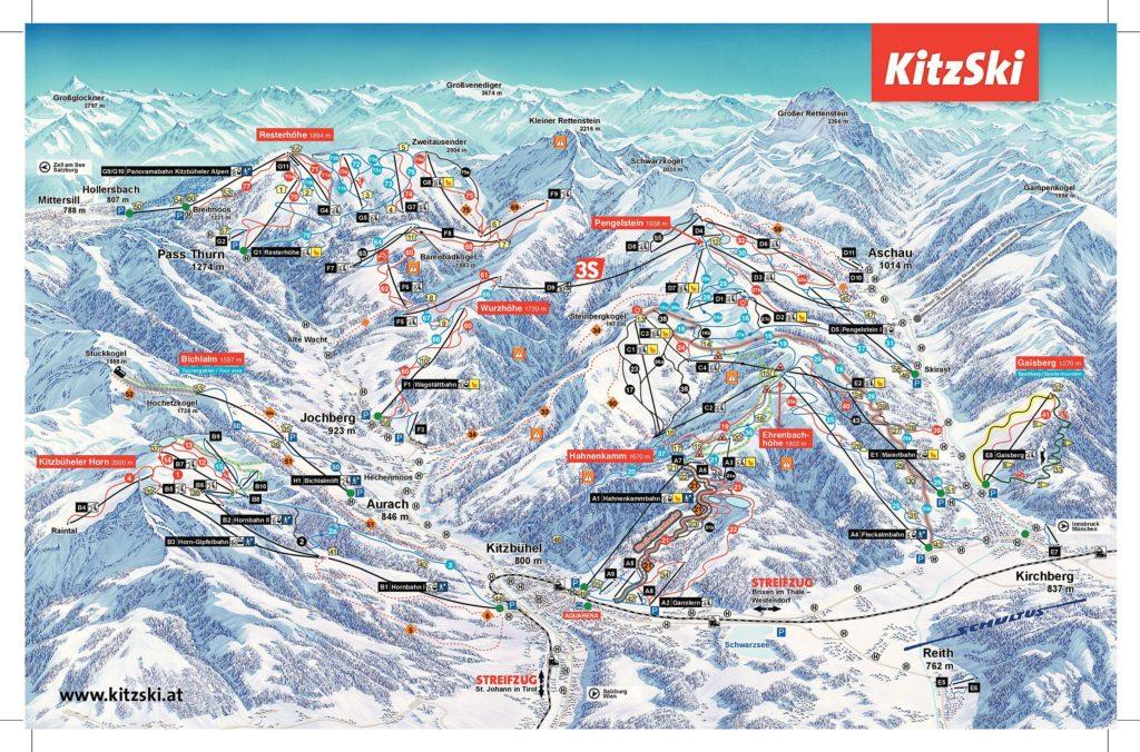 Схема трасс горнолыжного курорта Китцбюэль