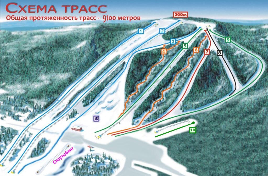 Карта трасс горнолыжного курорта Такман