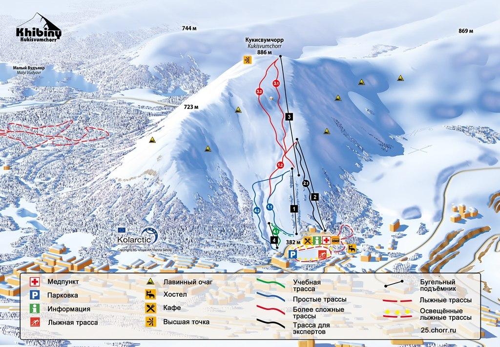 Карта трасс горнолыжного курорта Кукисвумчорр в Кировске