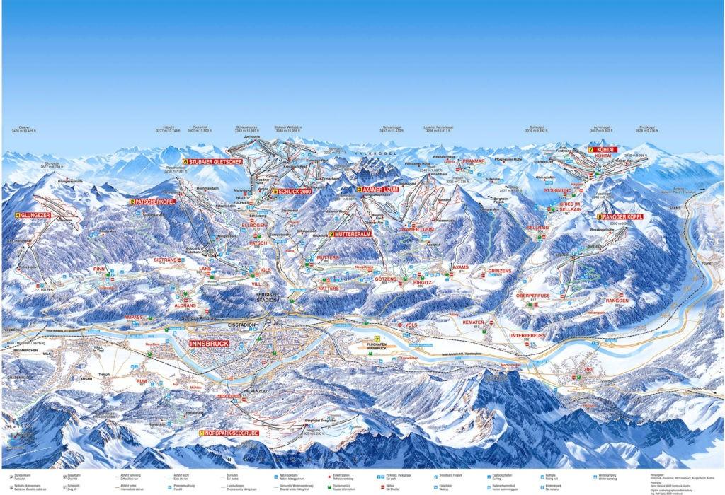 Схема трасс горнолыжного курорта Инсбрук