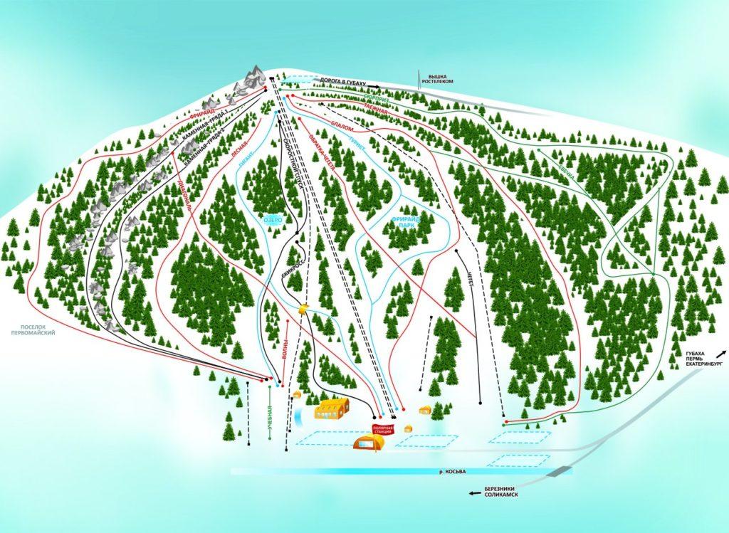 Схема трасс на горнолыжному курорте Губаха
