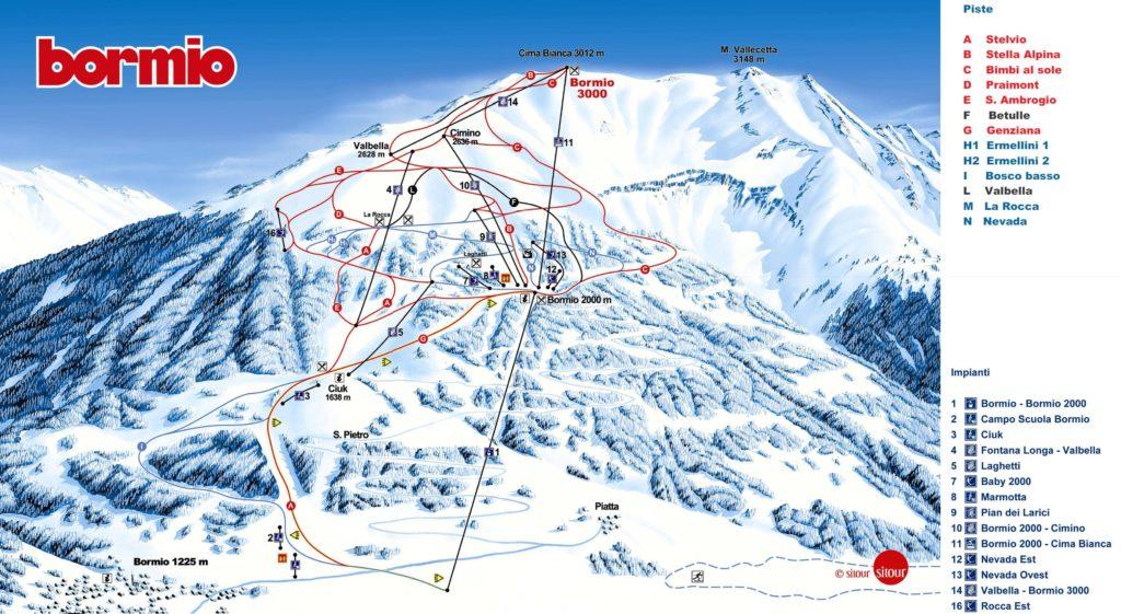 Карта трасс горнолыжного курорта Бормио