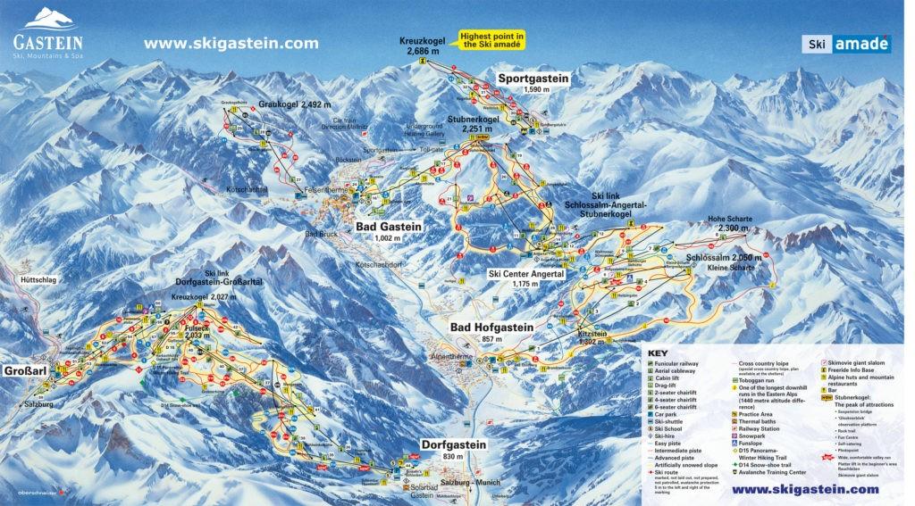 Схема трасс горнолыжного курортаБад Гаштайн